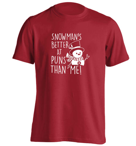 Snowman's Puns Me adults unisex red Tshirt 2XL