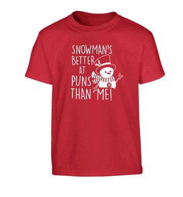 Snowman's Puns Me Children's red Tshirt 12-13 Years