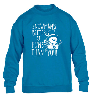 Snowman's Puns You children's blue sweater 12-13 Years