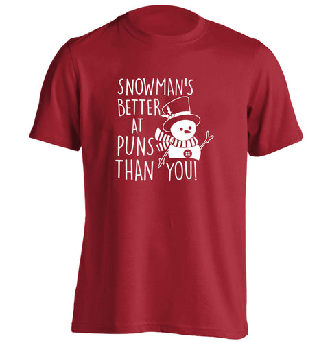 Snowman's Puns You adults unisex red Tshirt 2XL