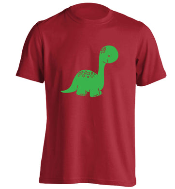 Dinosaur illustration adults unisex red Tshirt 2XL