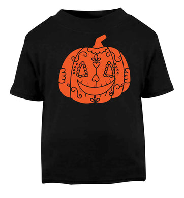 Pumpkin sugar skull Black baby toddler Tshirt 2 years