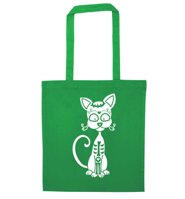 Cat sugar skull green tote bag