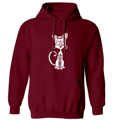 Cat sugar skull adults unisex maroon hoodie 2XL