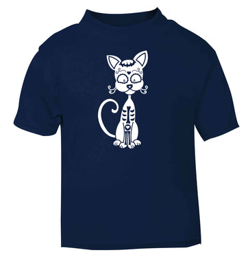Cat sugar skull navy baby toddler Tshirt 2 Years