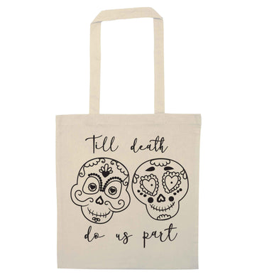Till death do us part sugar skulls natural tote bag