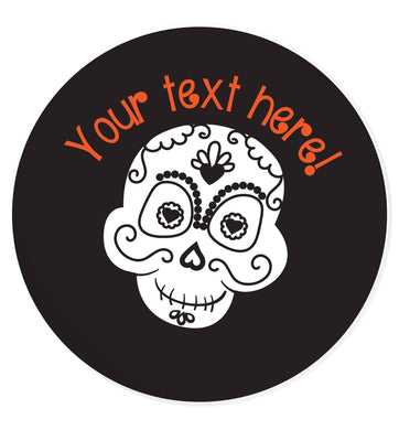 Male sugar skull - your text here 24 @ 45mm matt circle stickers