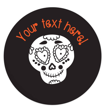 Female sugar skull - your text here 24 @ 45mm matt circle stickers