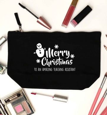 Merry christmas to my teacher black makeup bag
