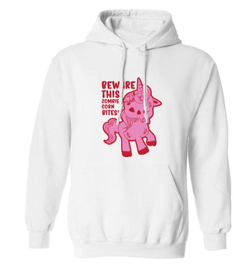 Beware this zombiecorn bites adults unisex white hoodie 2XL