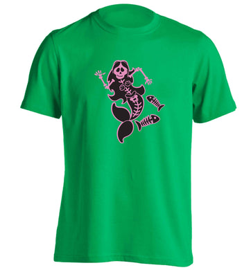 Skeleton mermaid adults unisex green Tshirt 2XL