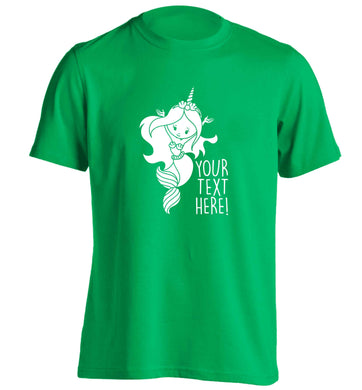 Mermaid with unicorn headband any text adults unisex green Tshirt 2XL