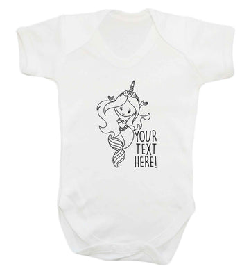 Mermaid with unicorn headband any text baby vest white 18-24 months
