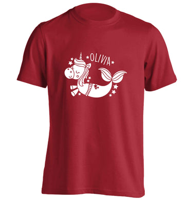 Unicorn mermaid - any name adults unisex red Tshirt 2XL