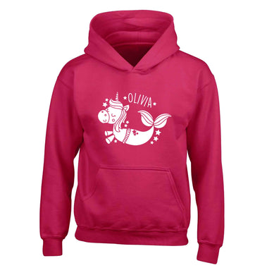 Unicorn mermaid - any name children's pink hoodie 12-13 Years