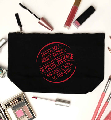 Merry Christmas black makeup bag