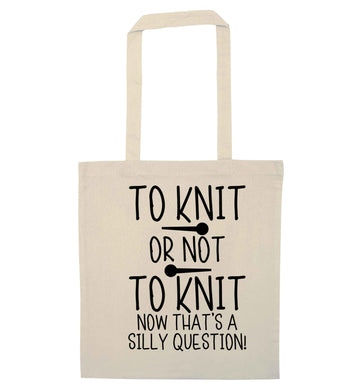 To knit or not to knit now that's a silly question natural tote bag