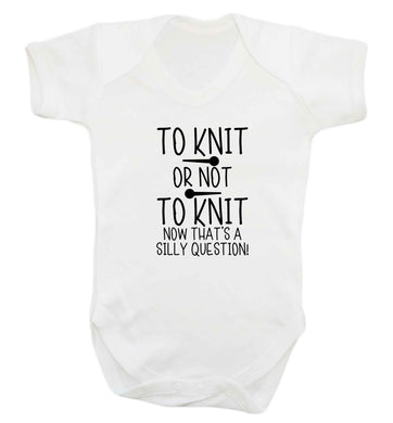 To knit or not to knit now that's a silly question baby vest white 18-24 months