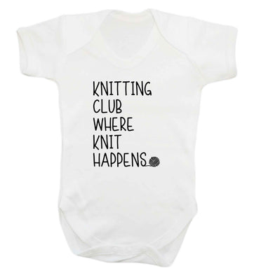 Knitting club where knit happens baby vest white 18-24 months