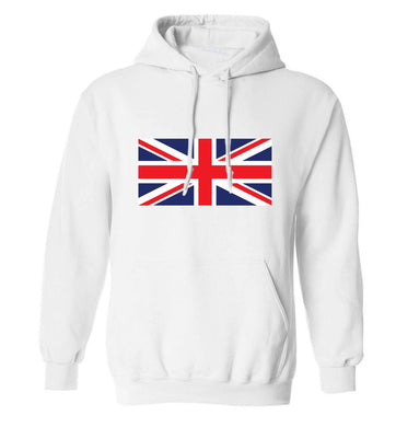 Union Jack adults unisex white hoodie 2XL