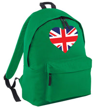 Union Jack Heart green adults backpack