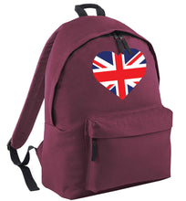 Union Jack Heart maroon adults backpack