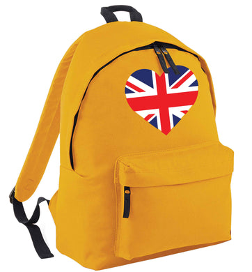 Union Jack Heart mustard adults backpack