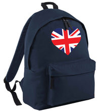 Union Jack Heart navy adults backpack