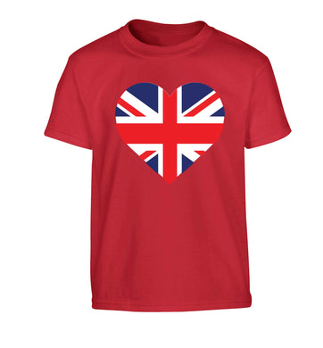 Union Jack Heart Children's red Tshirt 12-13 Years