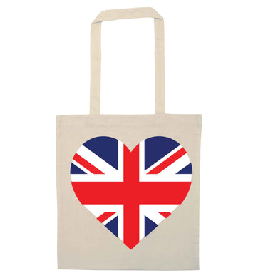 Union Jack Heart natural tote bag