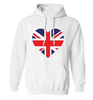 Union Jack Heart adults unisex white hoodie 2XL