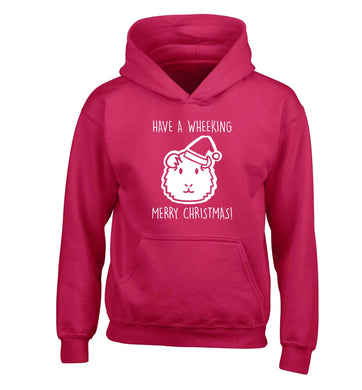 Have a wheeking merry Christmas children's pink hoodie 12-13 Years