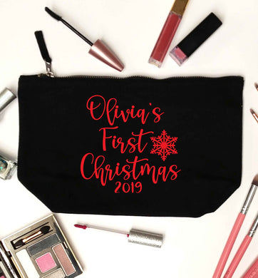 Personalised first Christmas - script text black makeup bag