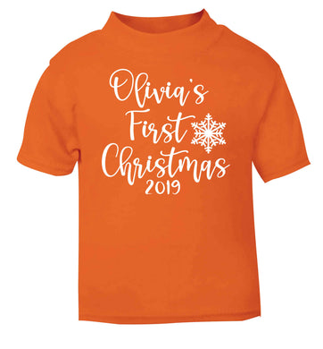 Personalised first Christmas - script text orange baby toddler Tshirt 2 Years