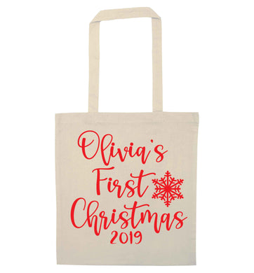Personalised first Christmas - script text natural tote bag