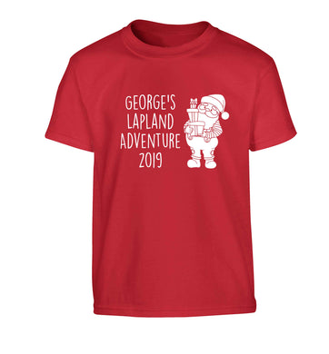 Personalised Lapland adventure - santa Children's red Tshirt 12-13 Years