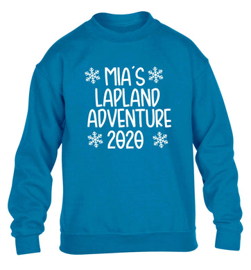 Personalised Lapland adventure - snowflakes children's blue sweater 12-13 Years