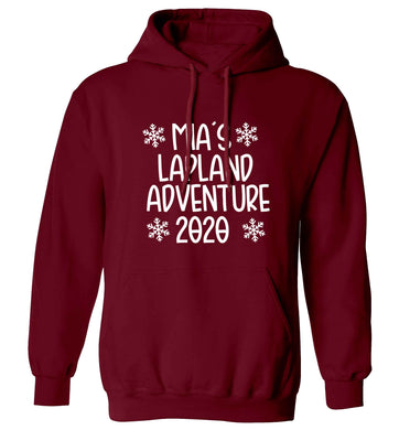 Personalised Lapland adventure - snowflakes adults unisex maroon hoodie 2XL