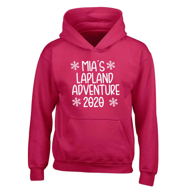 Personalised Lapland adventure - snowflakes children's pink hoodie 12-13 Years