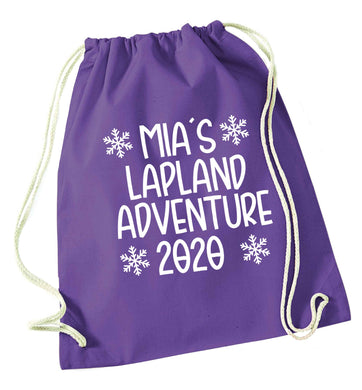 Personalised Lapland adventure - snowflakes purple drawstring bag
