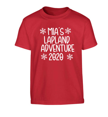 Personalised Lapland adventure - snowflakes Children's red Tshirt 12-13 Years