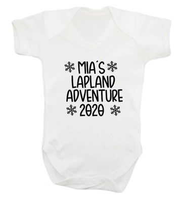 Personalised Lapland adventure - snowflakes baby vest white 18-24 months