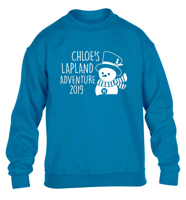 Personalised Lapland adventure - snowman children's blue sweater 12-13 Years