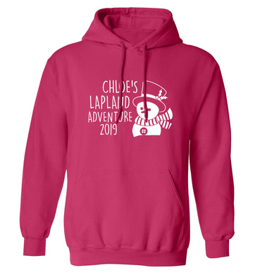 Personalised Lapland adventure - snowman adults unisex pink hoodie 2XL