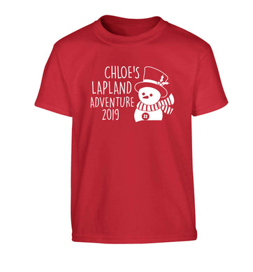 Personalised Lapland adventure - snowman Children's red Tshirt 12-13 Years