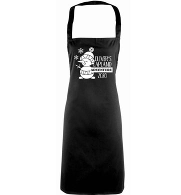 Personalised Lapland adventure - snowman snowflake adults black apron