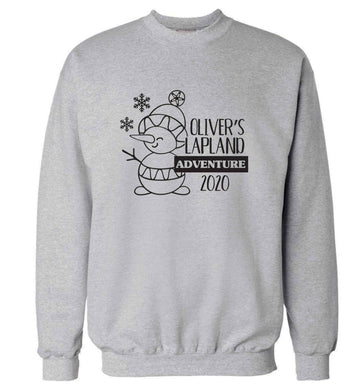 Personalised Lapland adventure - snowman snowflake adult's unisex grey sweater 2XL