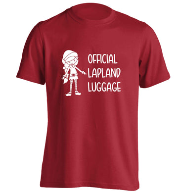 Official lapland luggage - Elf snowflake adults unisex red Tshirt 2XL