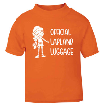 Official lapland luggage - Elf snowflake orange baby toddler Tshirt 2 Years