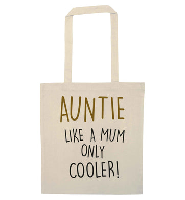 Auntie like a mum only cooler natural tote bag
